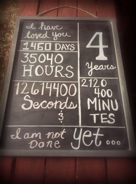 4 year anniversary chalkboard!   For Hubby   Pinterest
