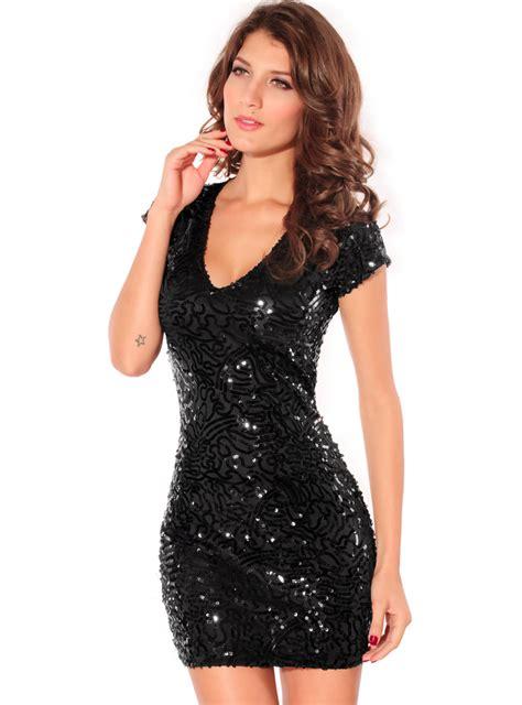 Dress Shiny shiny sequins v neck mini dress n6793