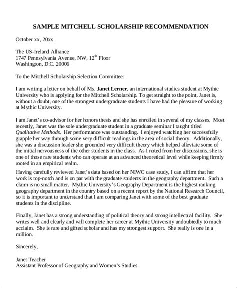 Reference Letter For Future Sle Scholarship Recommendation Letter 7 Exles In Word Pdf