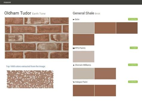 oldham tudor earth tone brick general shale behr ppg paints sherwin williams valspar