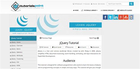 tutorialspoint online 12 best resources to learn jquery