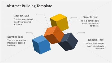 matching template powerpoint 3d colored cubes with matching text placeholders slidemodel