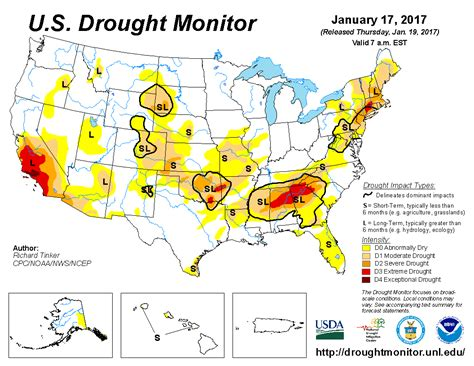 map us drought u s drought monitor update for january 17 2017
