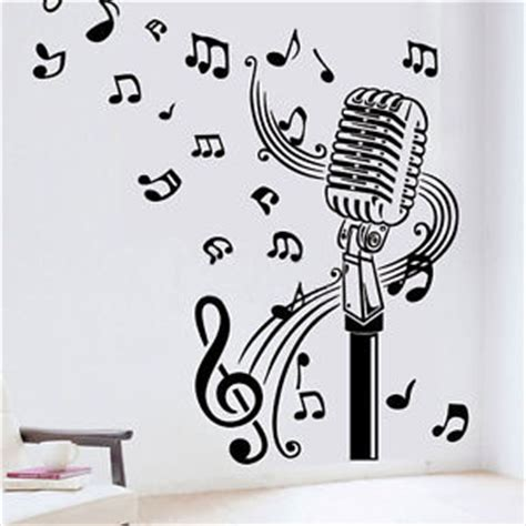 Musical Note Wall Stickers microphone mic music musical notes art words wall sticker