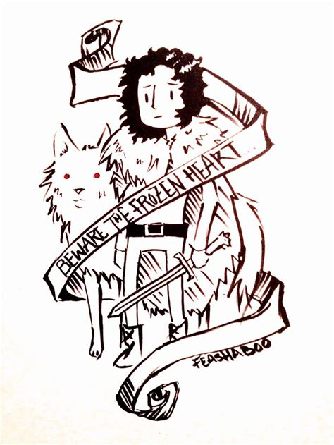 Jon Snow And Ghost Doodle Of Thrones