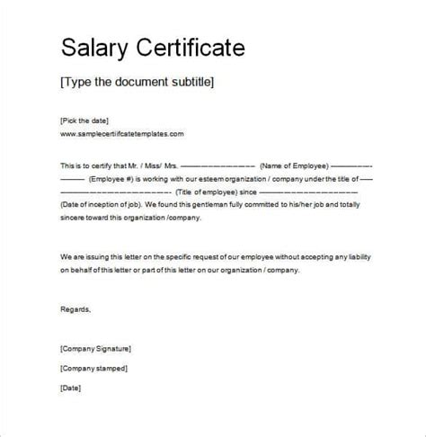 bank certification letter template salary certificate template 14 free word excel pdf