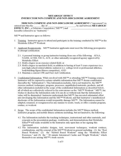Non Compete Non Disclosure Agreement Free Download Nda And Non Compete Agreement Template