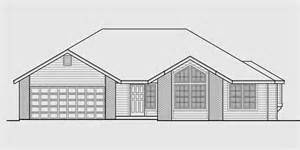 drawing of a house with garage one level house plan 3 bedroom 2 bath 2 car garage 55 ft
