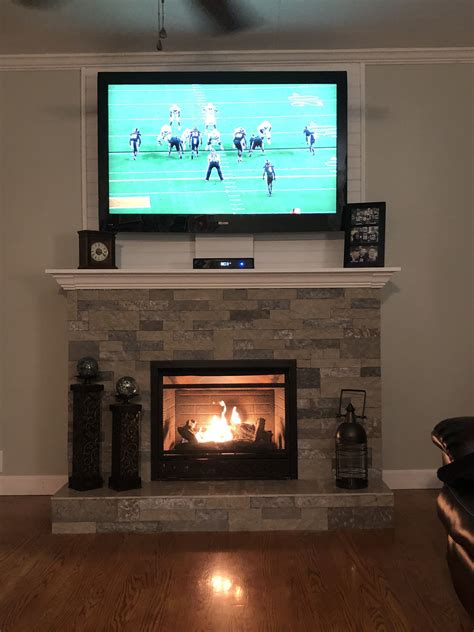 fireplace  shiplap  tv fireplace mantle decor basement living rooms fireplace