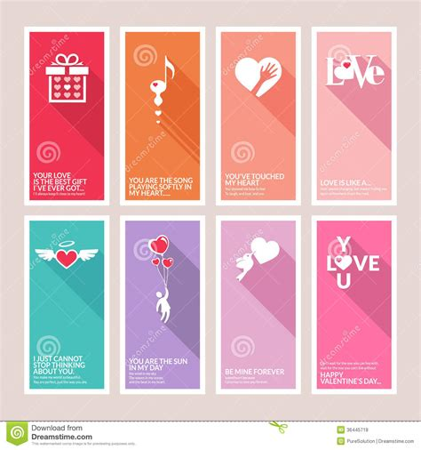 valentines sets valentines day set cards royalty free illustration