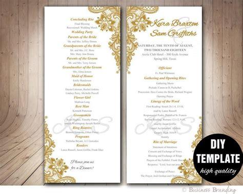 gold wedding program template di instant download elegant