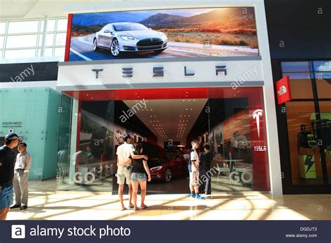tesla model s electric car showroom in yorkdale mall