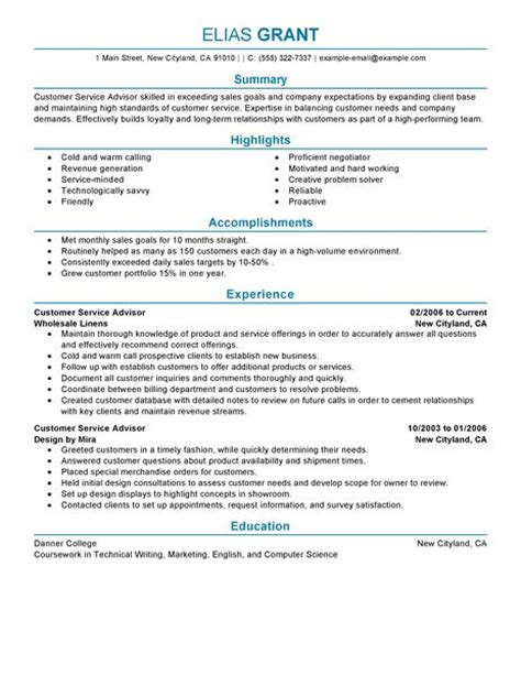 Show Me A Sle Of A Resume by Best Sales Customer Service Advisor Resume Exle Livecareer