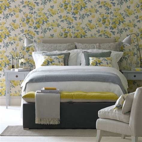 Grey Vintage Bedroom Wallpaper Floral Yellow Bedroom Country Bedroom Decorating