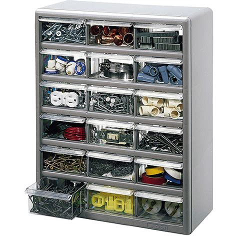 Plastic Drawer Cabinet by Stack On 18 Bin Plastic Drawer Cabinet Silver Gray
