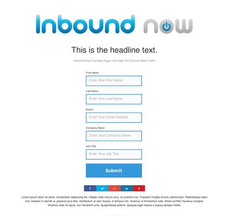 Simple Landing Page Template Inbound Now Marketplace Simple Landing Page Template
