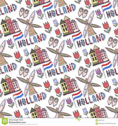 pattern design netherlands hand drawn holland seamless pattern with windmill and