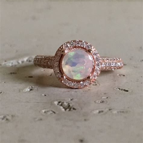 Wedding Anniversary Opal by Opal Engagement Ring Halo Ring Wedding Ring