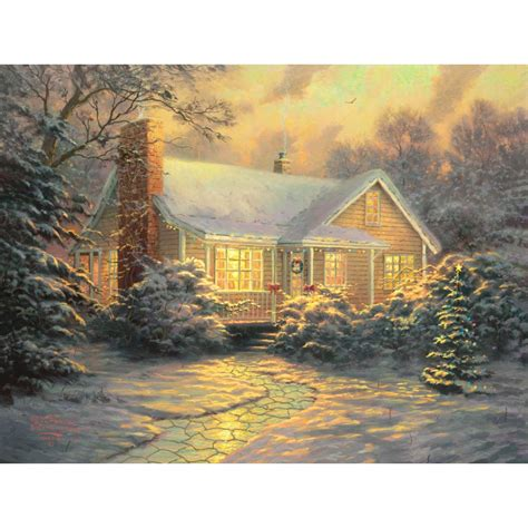 house prints thomas kinkade christmas cottage prints