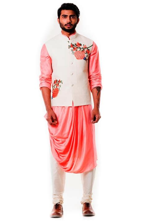 kurta colors soothing peach and off white color kurta for men in cotton