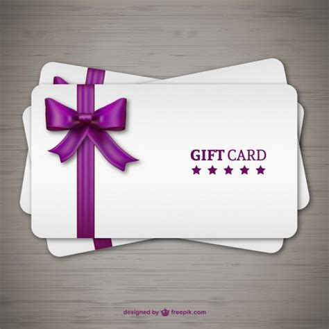 Graphic Design Gift Card Template by Gift Cards With Purple Ribbon Vector Free