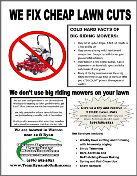 mowing flyer template lawn care flyers