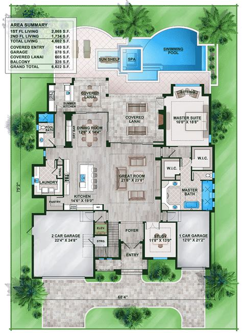 floridian house plans florida house plan with second floor rec room 86024bw