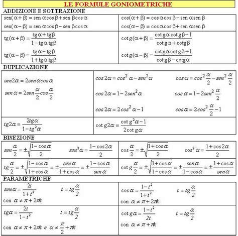 tavole goniometriche formule matematiche formule goniometriche