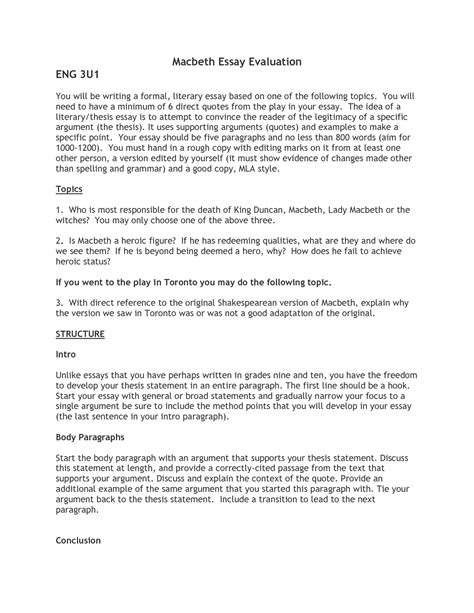 Macbeth Essay Ideas by Macbeth Essays Exles Macbeth Essays Exles Macbeth Essay Topics Macbeth Essay Exles
