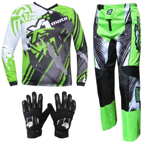 motocross pants and green youth kids mx jersey pants gloves dirt bike gear off