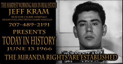 Ernesto Miranda Criminal Record Today In History June 13 1966 The Miranda Rights Are Established