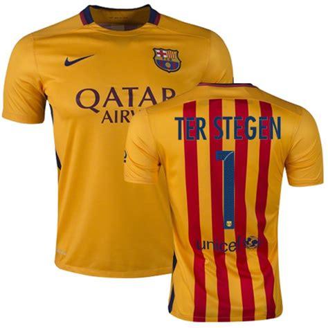 Tshirt Barcelona Blaugrana 16 Ter Stegen barcelona 1 marc andre ter stegen yellow stripes away authentic soccer jersey 15 16 spain