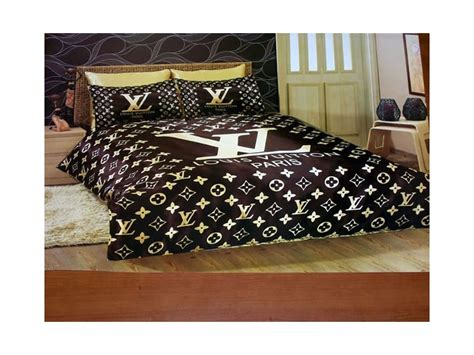 001 louis vuitton 6pcs authentic luxury bed set satin made