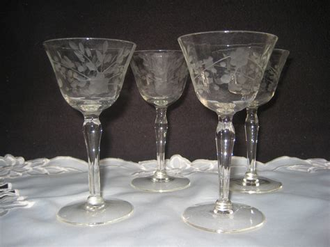 Glass Barware by Vintage Clear Etched Cordial Glasses Vintage