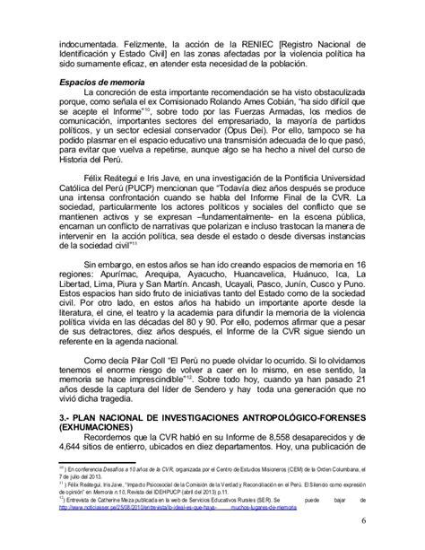 el informe de la cvr a los 10 a 241 os de la entrega informe de la cvr