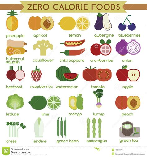 vegetables with 0 calories zero calorie foods stock vector illustration of