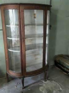 Glass Curio Cabinets For Sale by 300 1890 1900 Tiger Oak Curved Glass Curio Cabinet For