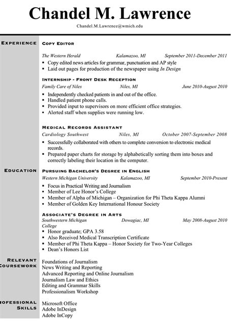 Resume Exles For Journalism Majors Giz Images Resume Post 20