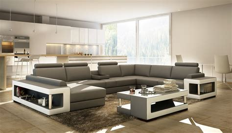 divani casa 5080 grey and white leather sectional sofa w