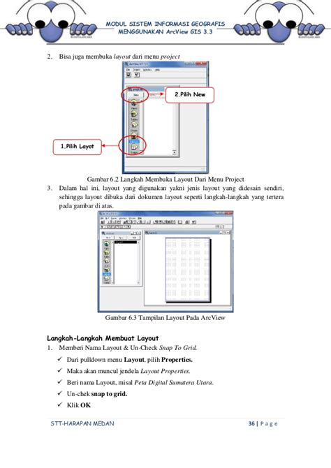 penjelasan layout peta modul praktikum gis menggunakan arcview 3 3