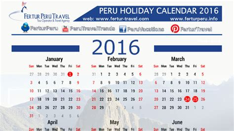 download holiday calendars to enhance your vacation peru 2016 holiday calendar download on peruvian travel