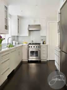 white kitchen cabinets dark hardwood floors contemporary