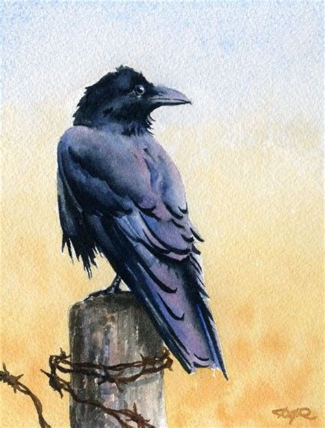 watercolor tattoo raven bird wildlife watercolor signed print by