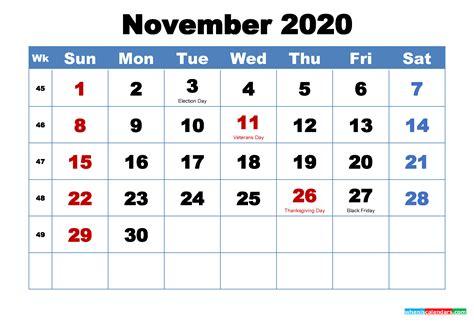 printable november  calendar  holidays