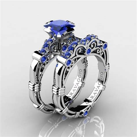 Wedding Rings Blue by 15 Collection Of Blue Wedding Ring Sets
