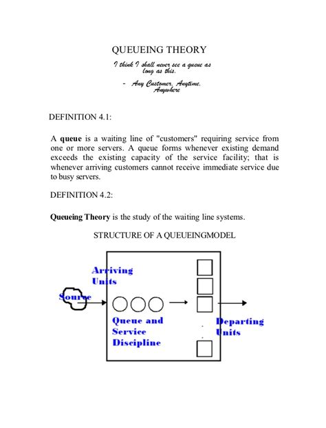 Queuing Theory Notes For Mba by Queueing Theory