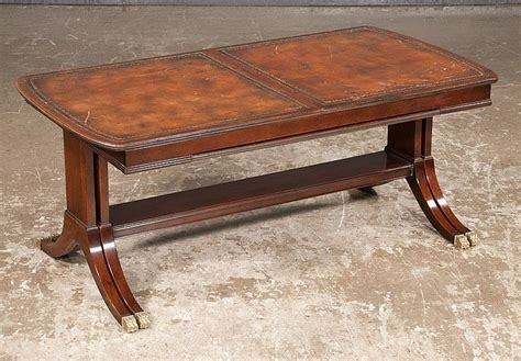Coffee Table With Extending Top Sheraton Style Mahogany And Leather Top Extending Coffee Table On Spl Lot 106