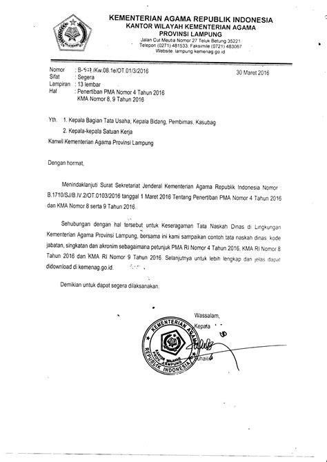 format penulisan naskah berita tata naskah dinas sesuai pma no 4 tahun 2016 kma no 8