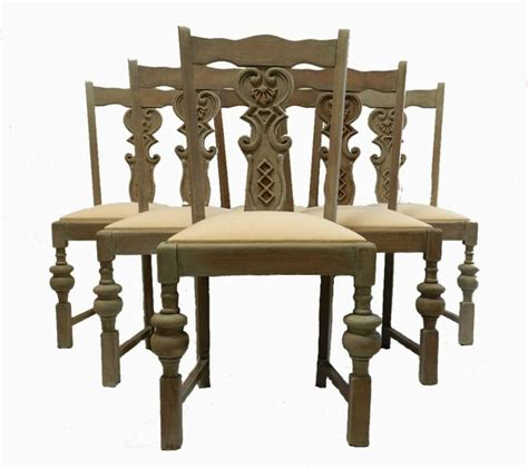 set of 6 dining chairs scandinavian style painted oak in