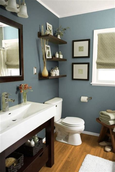 grey wall color with wood mirror for small bathroom ideas with floating shelves lestnic